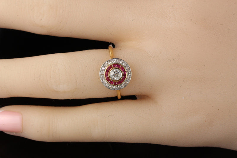 Antique Victorian 18K Yellow Gold Diamond and Ruby Engagement Ring