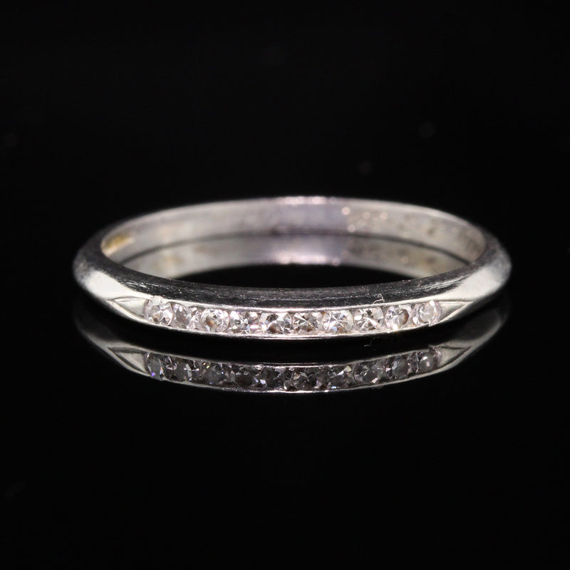 Antique Art Deco Platinum Old European Cut Diamond Wedding Band - Size 6