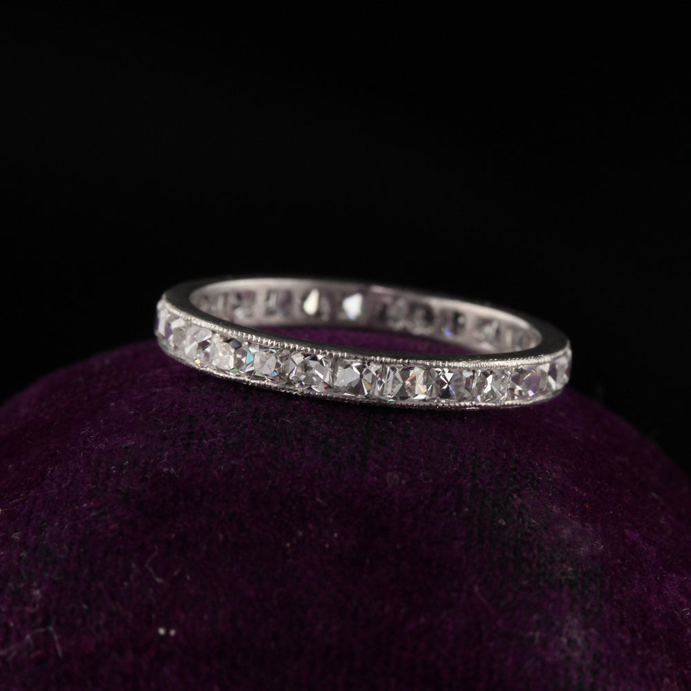 Antique Art Deco Platinum French Cut Diamond Eternity Band