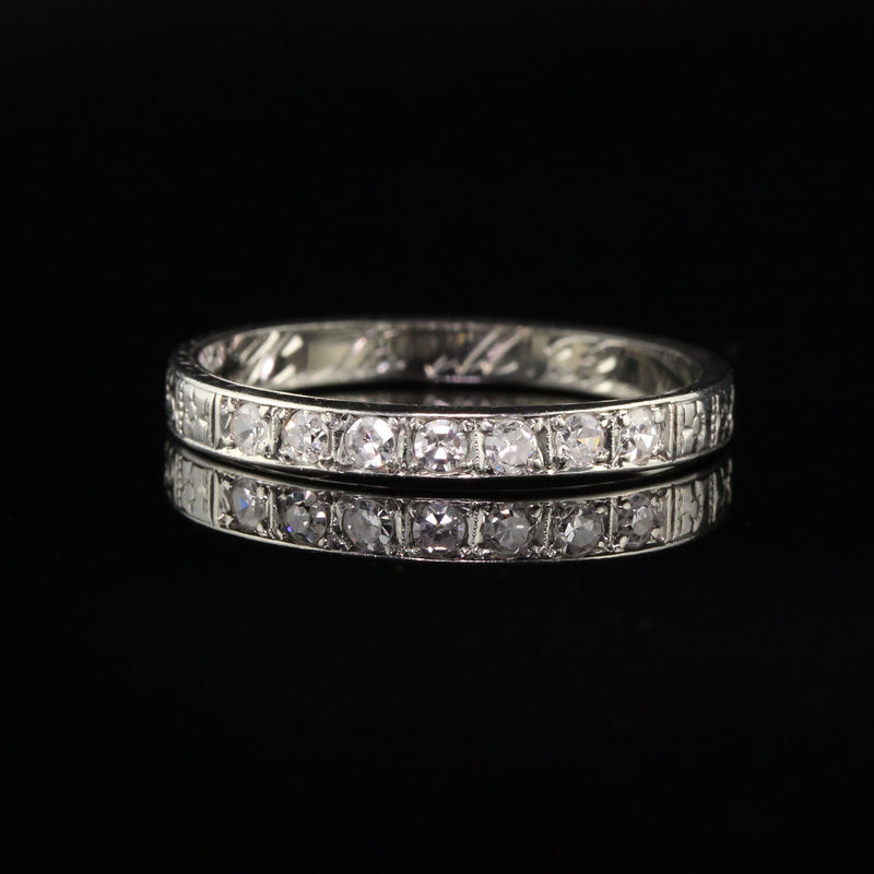 Antique Art Deco 18K White Gold Single Cut Diamond Wedding Band - Size 6