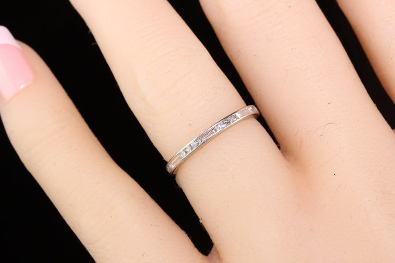 Antique Art Deco Platinum Baguette Cut Diamond Eternity Band - Size 4.75