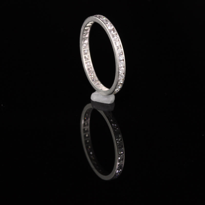 Antique Art Deco Platinum Single Cut Diamonds Eternity Band - Size 7.5