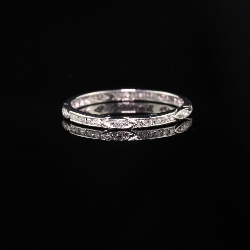 Antique Art Deco Platinum Single Cut Diamonds Eternity Band - Size 5