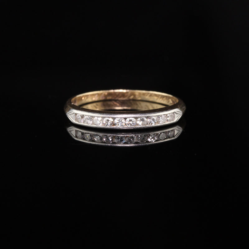 CD Peacock Antique Art Deco Platinum and 14K Yellow Gold Single Cut Diamonds Wedding Band - Size 5.25