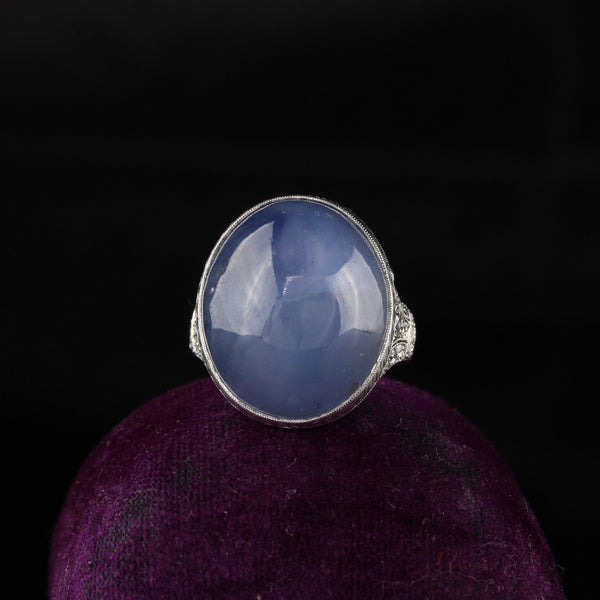 Raymond Yard Antique Art Deco Platinum Diamond and Star Sapphire Ring