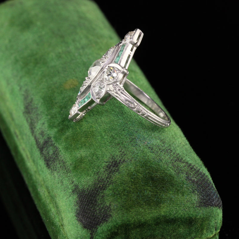 Antique Art Deco Platinum Old European Cushion Cut Diamond and Emerald Shield Ring