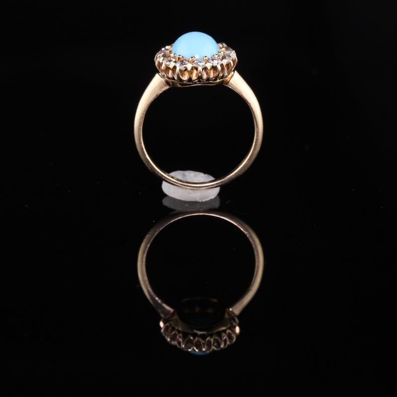 Antique Victorian Old Miner Cut Diamonds and Turquoise Ring