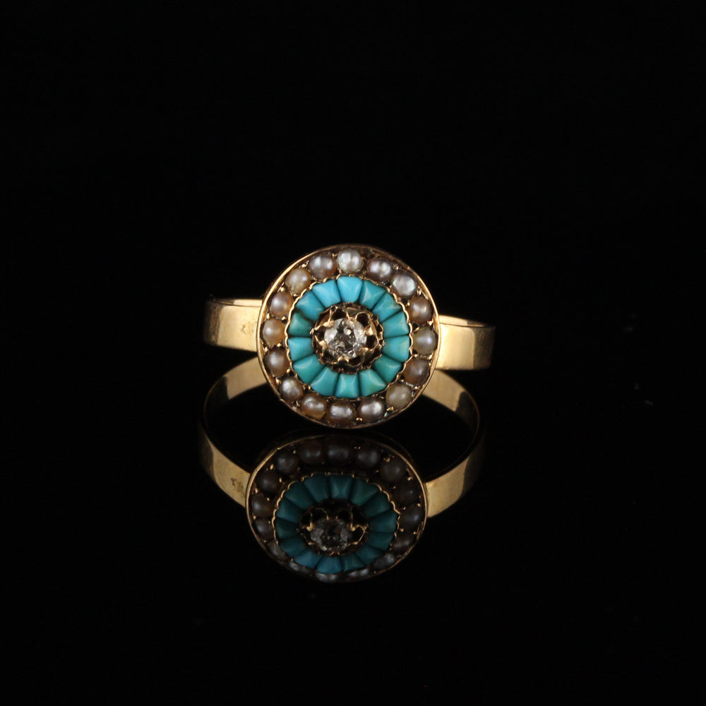 Antique Victorian 18K Yellow Gold Diamond, Sea Pearl, and Turquoise Ring