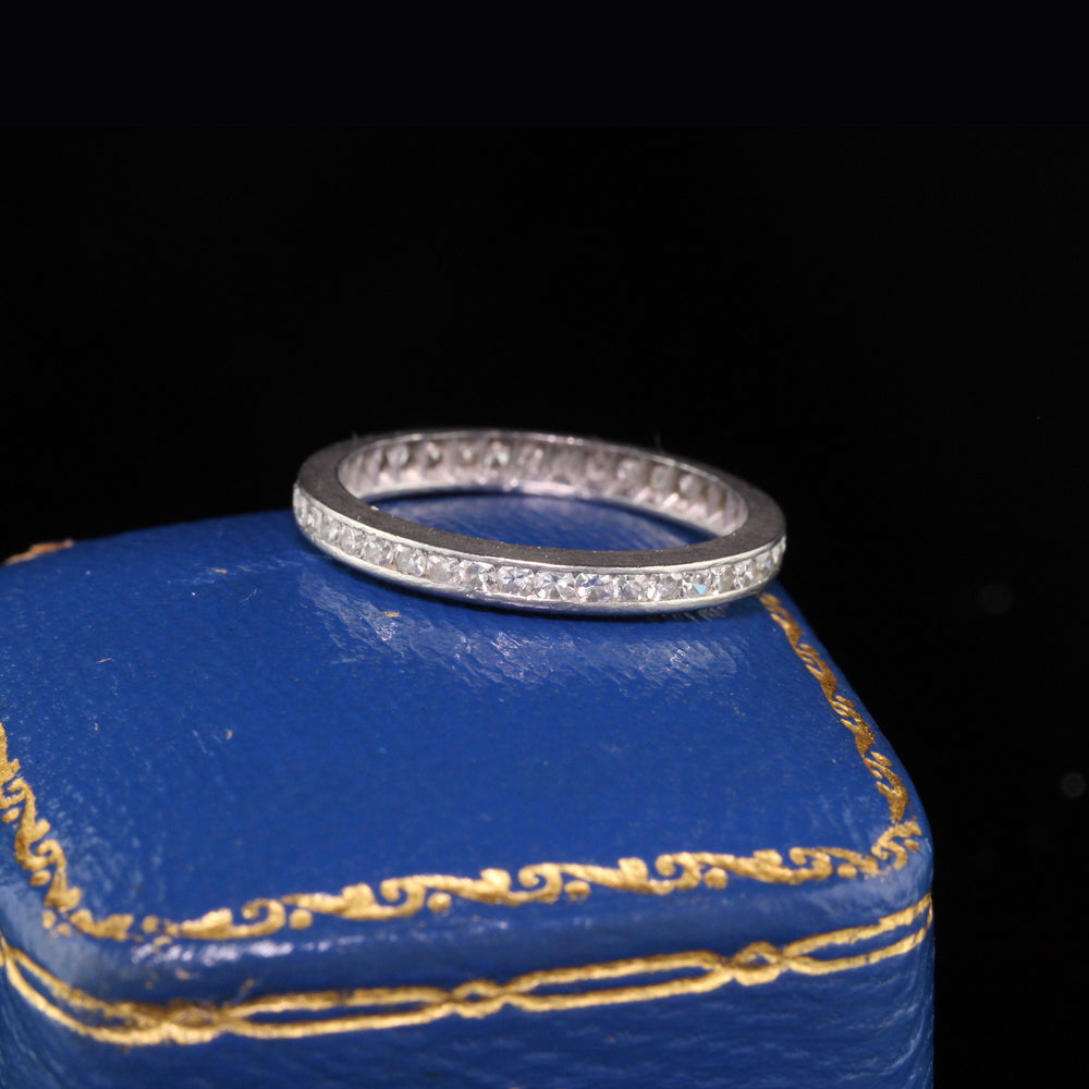 Antique Art Deco Platinum Diamond Eternity Band - Size 5.25