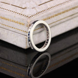 Antique Art Deco Platinum Diamond and Sapphire Eternity Band - Size 4