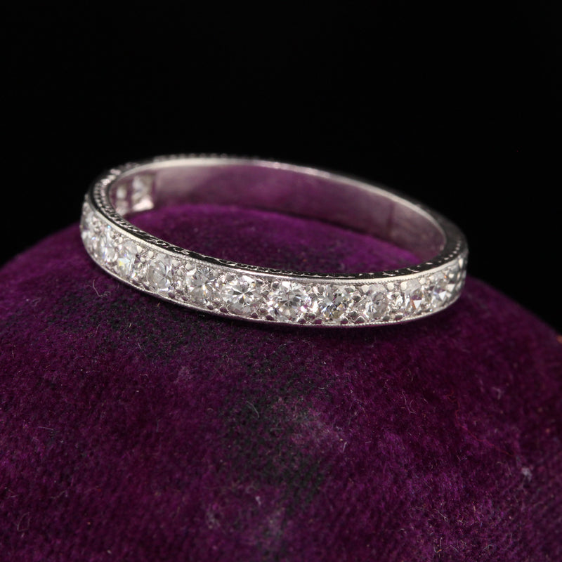 Antique Art Deco Platinum Old European Cut Diamonds Half Eternity Band - Size 9