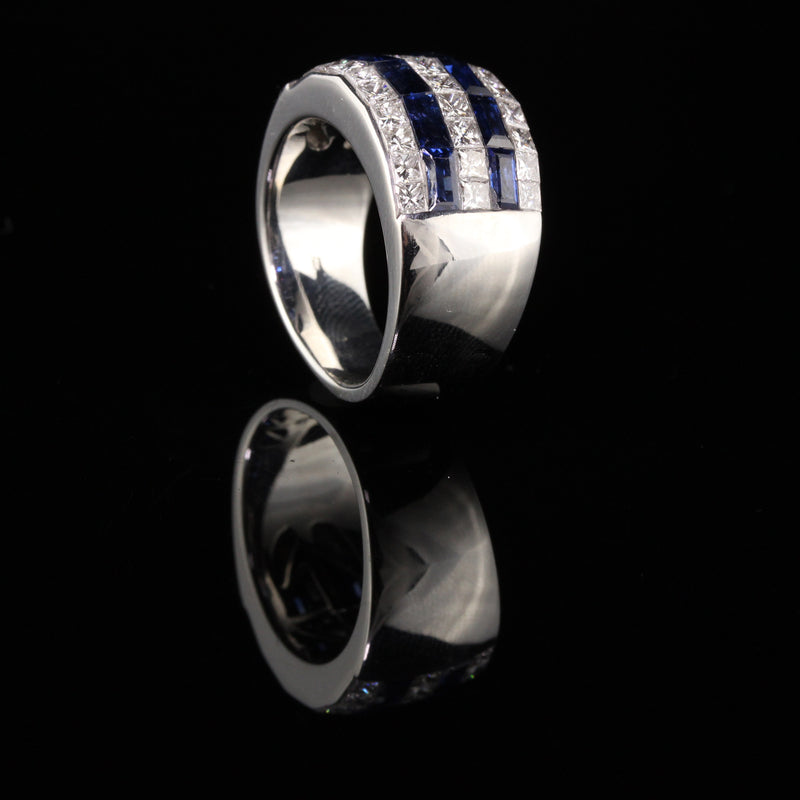 Estate 18K White Gold Princess Cut Diamond and Sapphire Invisible Set Ring
