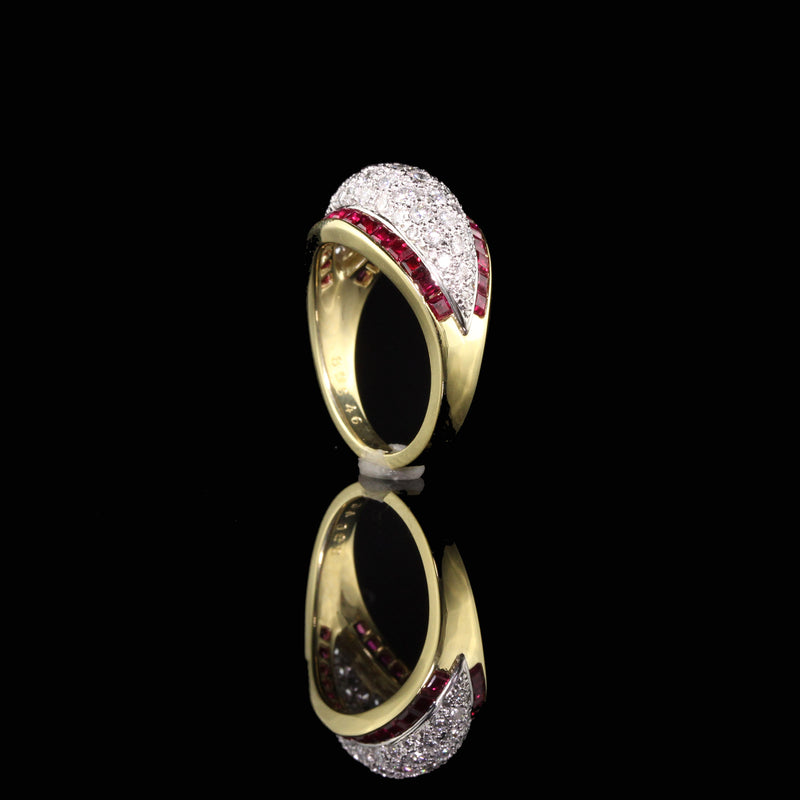 Retro Platinum and 18K Yellow Gold Diamond and Ruby Ring