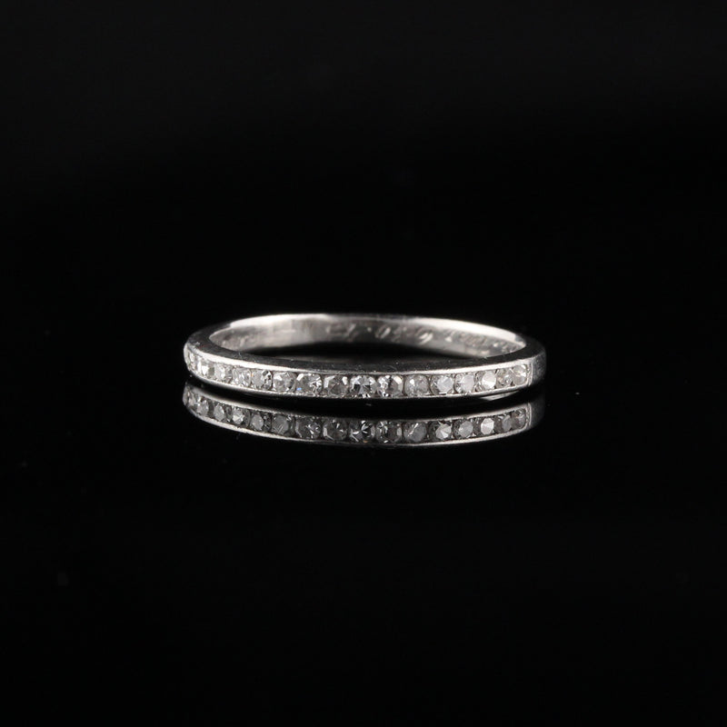 Circa 1945 - Vintage Platinum Round Single Cut Diamond Wedding Band - Size 7