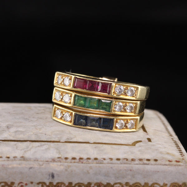 Retro 18K Yellow Gold Diamond, Emerald, Sapphire, and Ruby Harem Ring