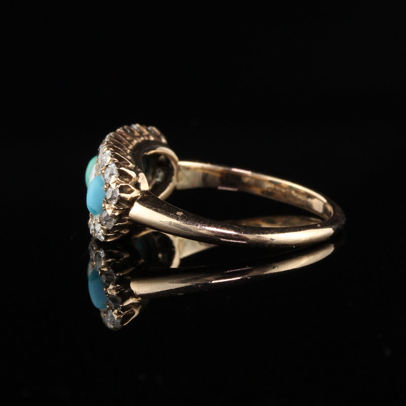 Antique Victorian Old Mine Cut Diamond, Opal, and Turquoise Ring
