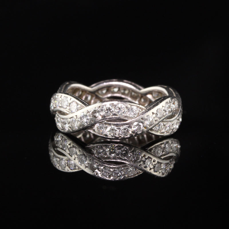 Van Cleef and Arpels Vintage Platinum Diamond Eternity Wedding Band - Size 5.5