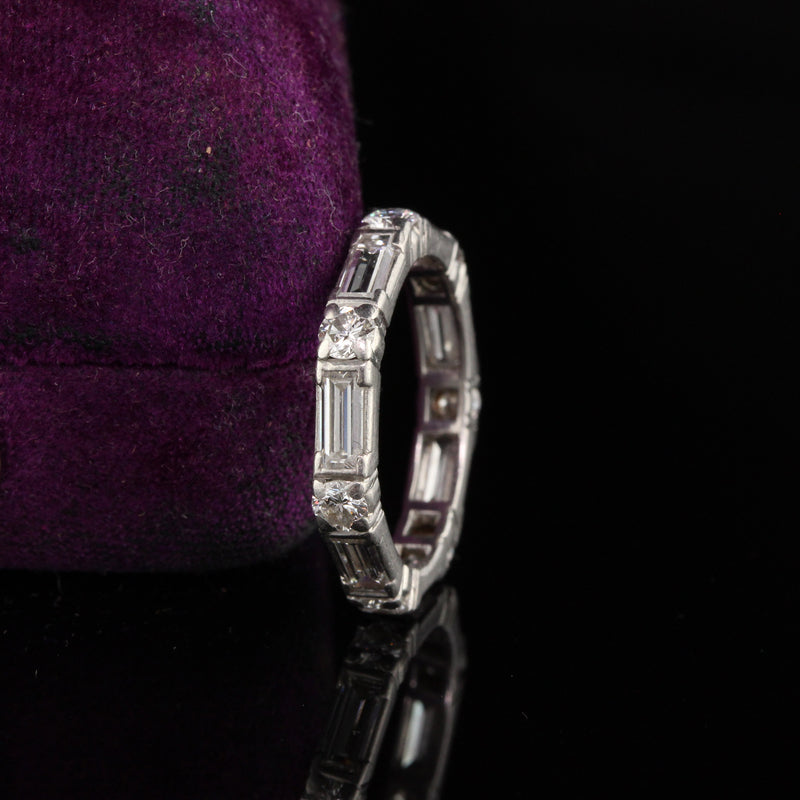 Retro Platinum Baguette and Round Cut Diamond Eternity Band - Size 6