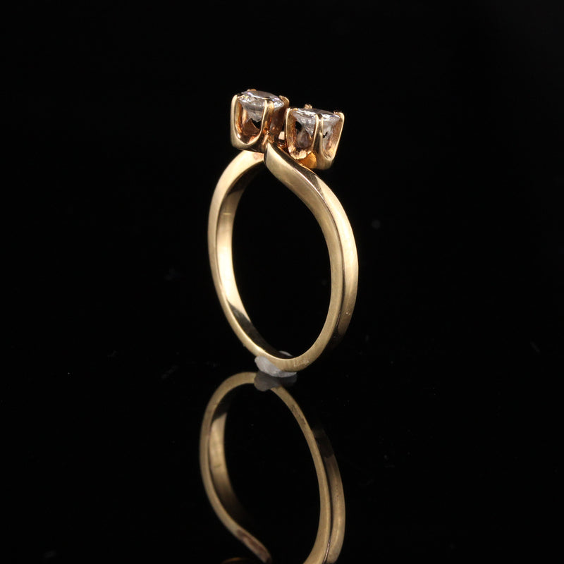 Retro 18K Yellow Gold Diamond Toi Et Moi Ring