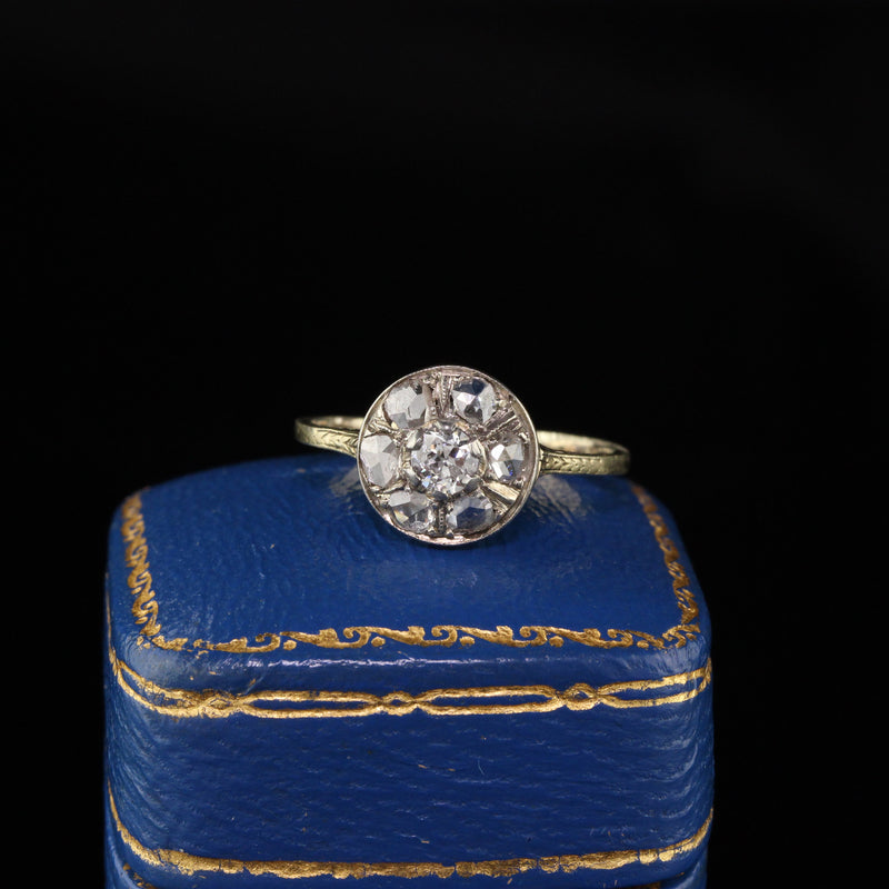 Antique Victorian 10K Yellow Gold Old Euro and Rose Cut Diamond Engagement Ring