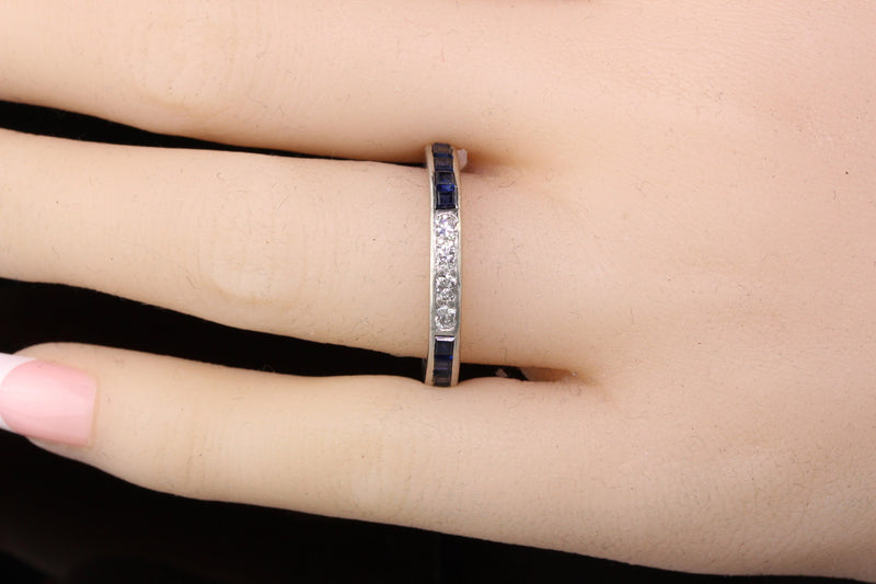 Tiffany and Co Vintage Platinum Diamond and Sapphire Wedding Band - Size 8.75