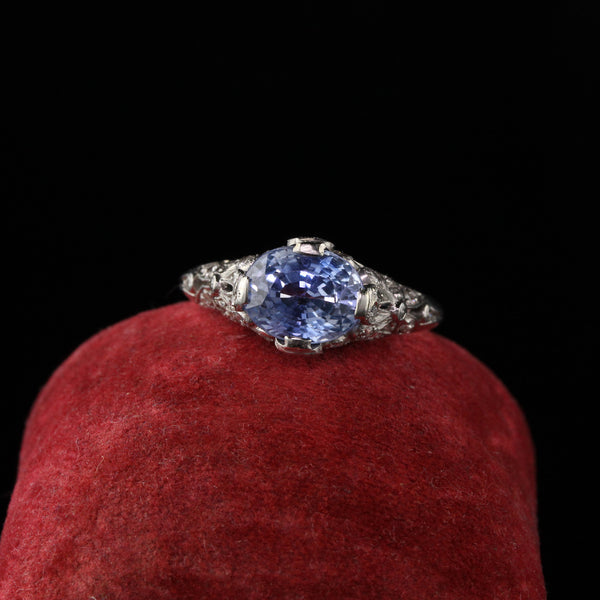 Antique Art Deco Platinum Diamond and Sapphire Engagement Ring - LAYAWAY 2 of 3