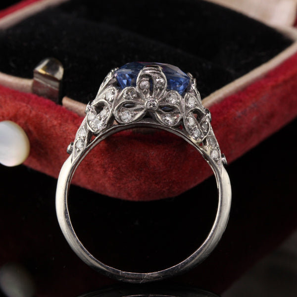 Antique Art Deco Platinum Diamond and Sapphire Engagement Ring - LAYAWAY 1 of 3