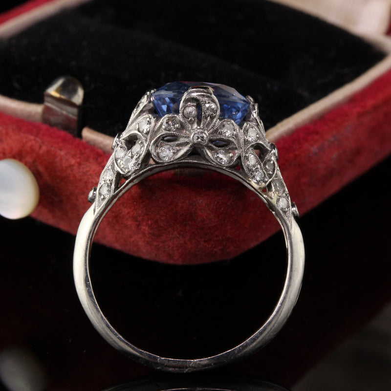 Antique Art Deco Platinum Diamond and Sapphire Engagement Ring - LAYAWAY 1 of 4