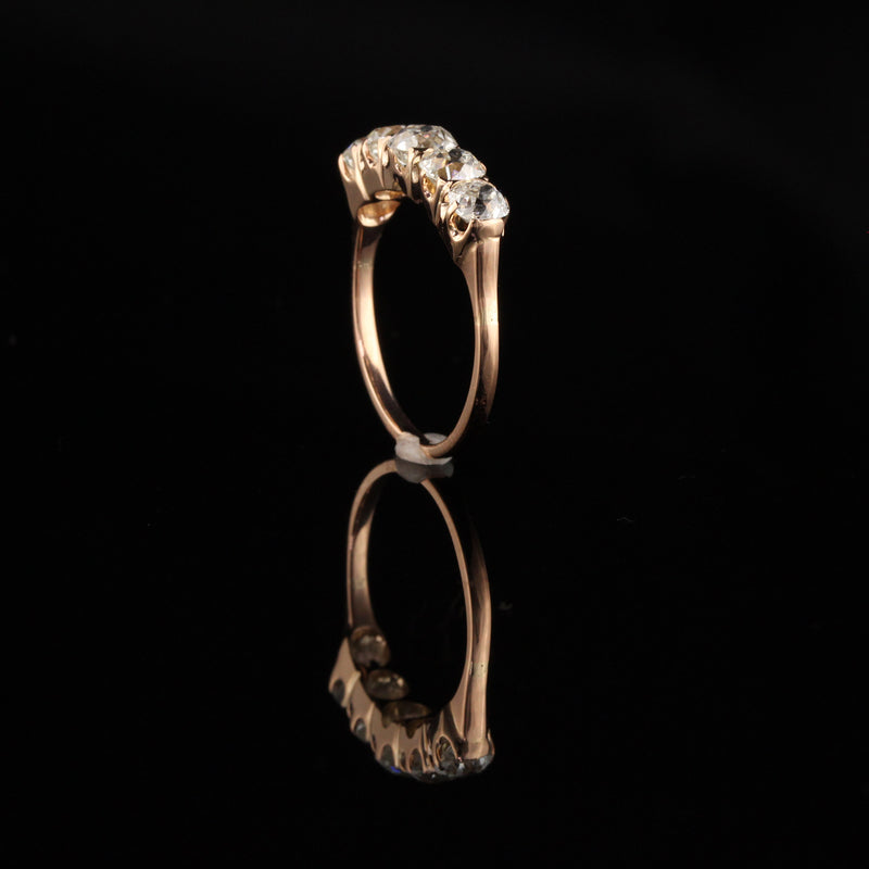 Antique Victorian 18K Rose Gold Old Mine Cut Diamond Five Stone Ring