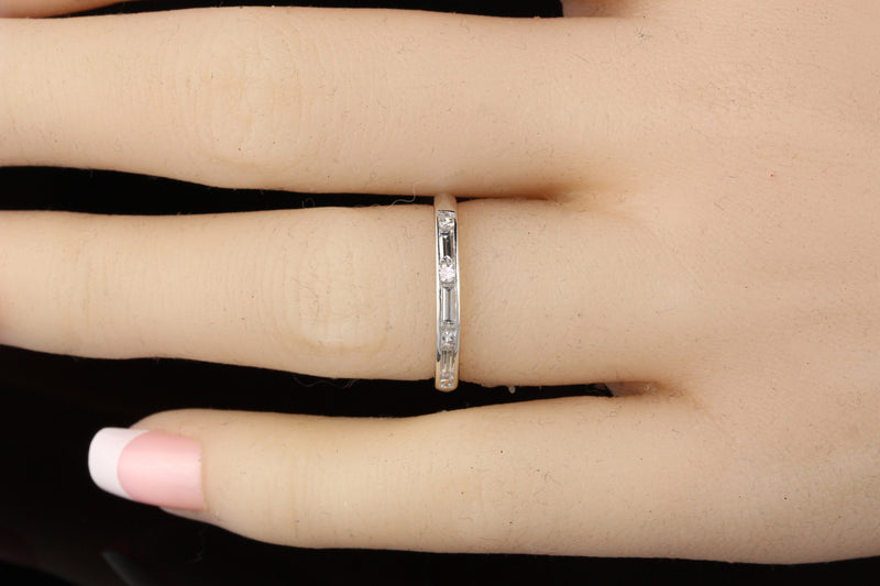 Antique Art Deco Platinum Baguette Cut Diamond Band - Size 5.5