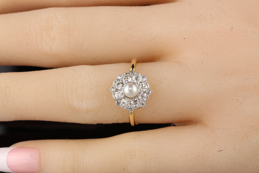 Antique Victorian 18K Yellow Gold Old Euro Cut Diamond and Pearl Engagement Ring