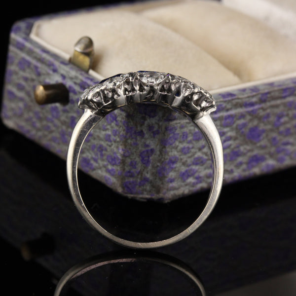 Antique Art Deco Platinum and 14K White Gold Sapphire and Diamond Ring
