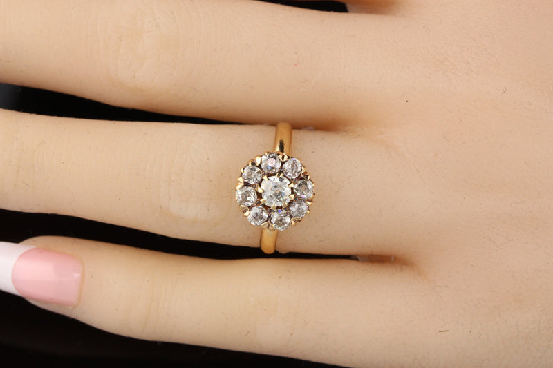 Antique Victorian 14K Yellow Gold Old Mine Cut Diamond Engagement Ring