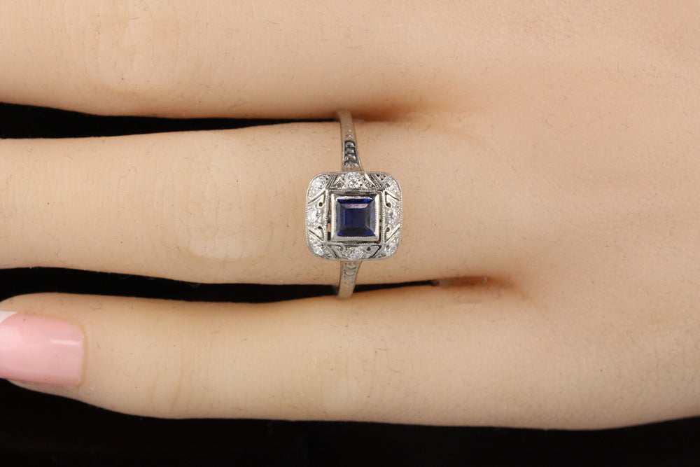 Antique Art Deco Platinum Sapphire and Diamond Engagement Ring