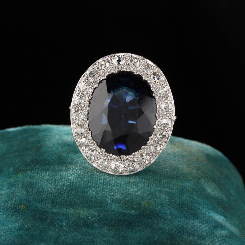 Antique Art Deco Platinum Diamond and Sapphire Cocktail Ring