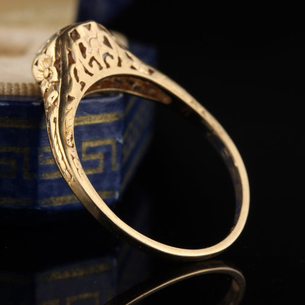 Antique Art Deco 14K Yellow Gold Diamond Engagement Ring