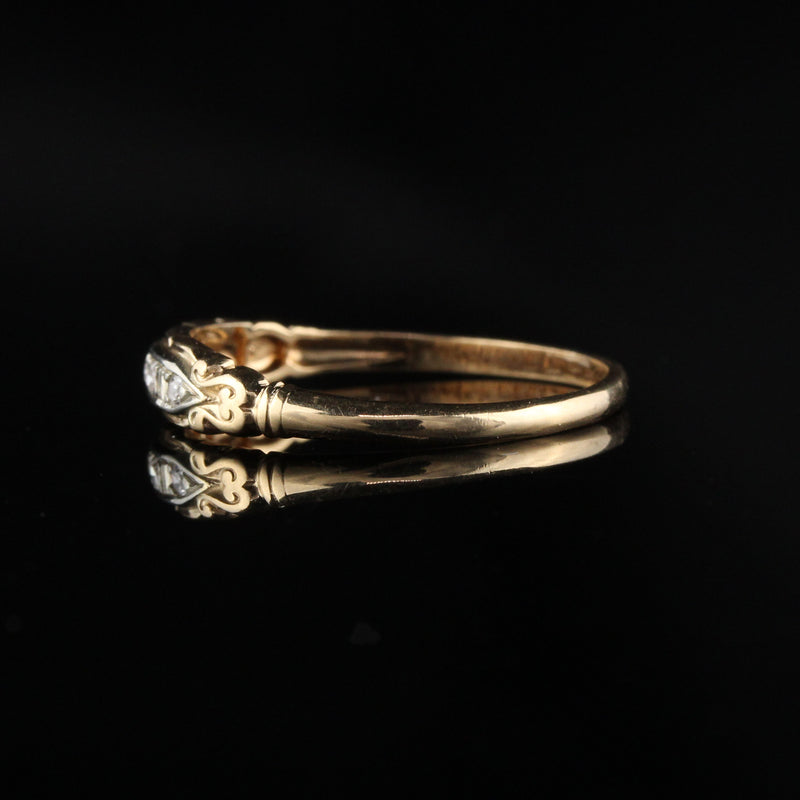 Antique Art Deco 14K and 18K Gold Diamond Band