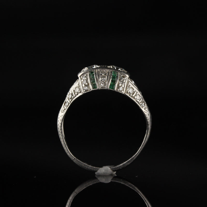 Antique Art Deco Platinum Old Euro Cut Diamond and Emerald Engagement Ring