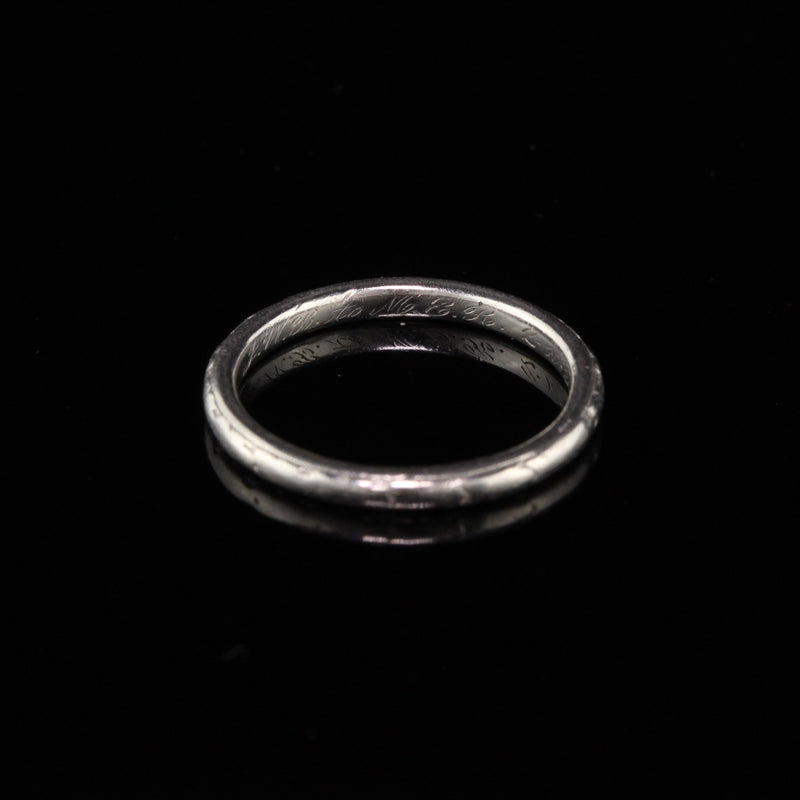 Orange Blossom Antique Art Deco Platinum Wedding Band - Size 4.5