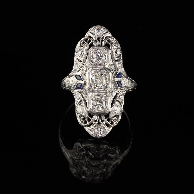 Antique Art Deco Platinum Old Euro Cut Diamond and Sapphire Shield Ring