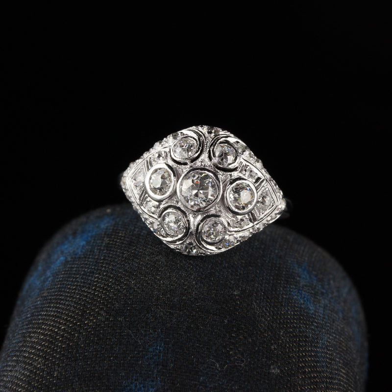 Antique Art Deco Platinum Old Euro Cut Diamond Engagement Ring