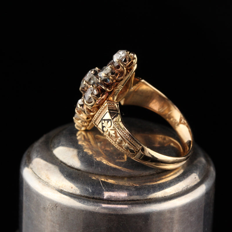 Antique Victorian 18K Yellow Gold Old Mine Cut Diamond Shield Ring