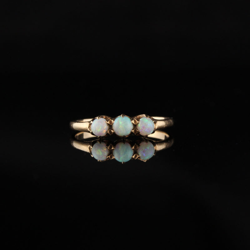 Antique Victorian 14K Yellow Gold Opal Wedding Band