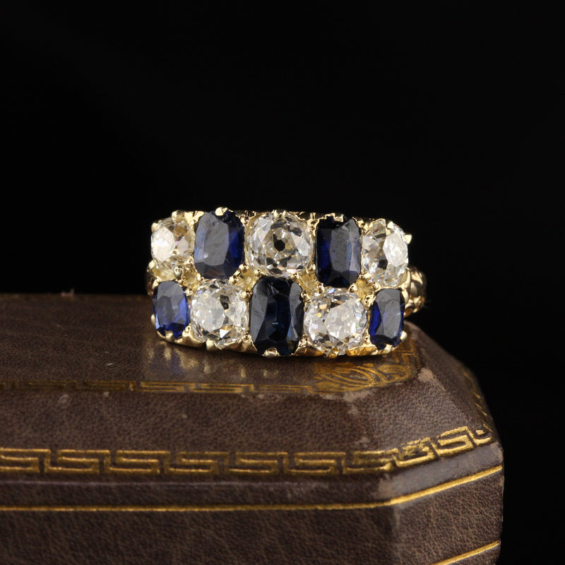 Antique Victorian 18K Yellow Gold Old Mine Cut Diamond and Sapphire Ring