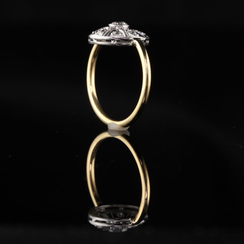 Antique Victorian 18K Yellow Gold and Platinum Top Old Euro Cut Diamond Ring