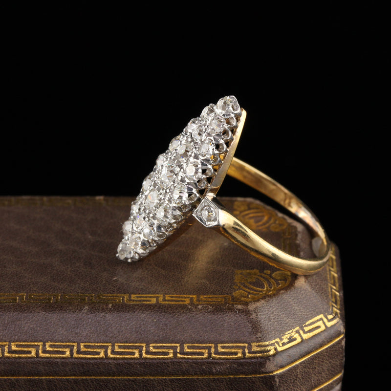 Antique Victorian 18K Yellow Gold and Platinum Top Old Mine Cut Diamond Shield Ring