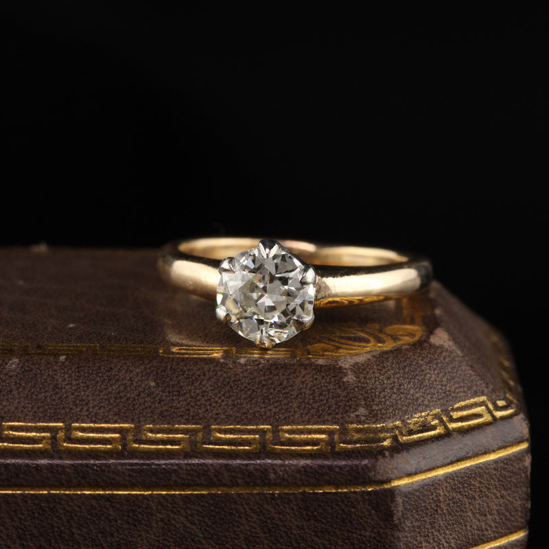Antique Victorian 14K Yellow Gold and Platinum Top Old Euro Cut Diamond Engagement Ring