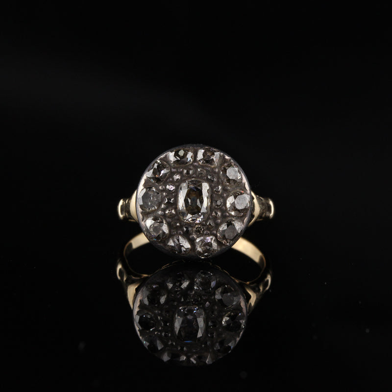 Antique Georgian 18K Yellow Gold and Silver Top Rose Cut Diamond Engagement Ring - Layaway 5 of 6