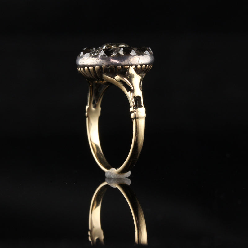 Antique Georgian 18K Yellow Gold and Silver Top Rose Cut Diamond Engagement Ring - Layaway 3 of 6