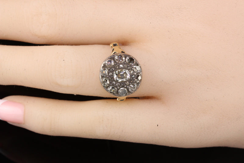 Antique Georgian 18K Yellow Gold and Silver Top Rose Cut Diamond Engagement Ring - Layaway 2 of 6